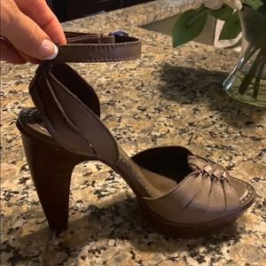 Frye platform leather 8.5 strappy heels 5""